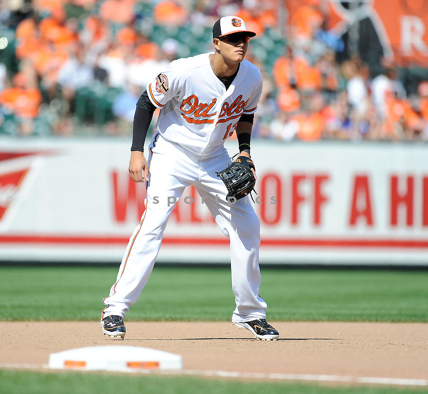 Baltimore Orioles Manny Machado (13) during a game against the  Tampa Bay Rays on September 13, 2012 at Oriole Park in Baltimore, MD. The Orioles beat the Rays 4-3 in 14 innings.