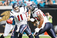 November 27, 2011:  Houston Texans quarterback Matt Leinart (11) hands the ball off to running back Arian Foster (23) during  first quarter action between the Jacksonville Jaguars and the Houston Texans played at EverBank Field in Jacksonville, Florida.  ........