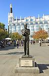 Federico Garcia Lorca statue,  Plaza de Santa Anna, Barrio de las Letras, Madrid city centre, Spain