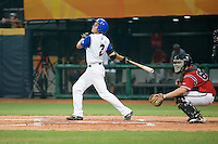 20 August 2007: Shortstop #2 Sebastien Herve watchs a fly ball during the Czech Republic 6-1 victory over France in the Good Luck Beijing International baseball tournament (olympic test event) at the Wukesong Baseball Field in Beijing, China.