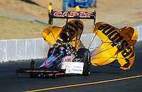Jul. 16, 2010; Sonoma, CA, USA; NHRA top fuel dragster driver Steve Torrence during qualifying for the Fram Autolite Nationals at Infineon Raceway. Mandatory Credit: Mark J. Rebilas-