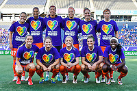 Orlando, FL - Thursday June 23, 2016: Houston Dash Starting XI during a regular season National Women's Soccer League (NWSL) match between the Orlando Pride and the Houston Dash at Camping World Stadium.