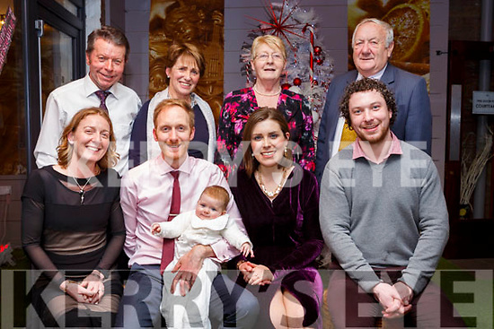 Baby Hannah Rose Enright christening party in Benners Hotel last Friday. Seated l-r, Threase Enright (Godmother), Dad &amp; Mom, Jim &amp; Denise Enright  with baby Hannah Rose &amp; Joseph Moynihan (Godfather).<br /> Back l-r, Thomas &amp; Ann Moynihan (Grandparents) and Rita &amp; Jim Enright (Grandparents).