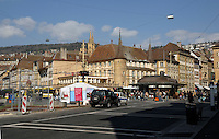 Traffic in the centre of Neuchatel. Switzerland.