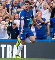 Alvaro Morata of Chelsea celebrates his goal during the Premier League match between Chelsea and Everton at Stamford Bridge, London, England on 27 August 2017. Photo by Andy Rowland.
