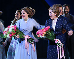 Jessie Mueller and Renee Fleming during the Opening Night Curtain Call for 'Carousel' at the Imperial Theatre on April 12, 2018 in New York City.