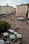 Looking down at Alter Markt, or Old Marketplace plaza which dates back to the 13th century