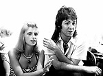 Wings 1973 Linda McCartney and Paul McCartney backstage July 6th 1973 Birmingham<br /> &copy; Chris Walter