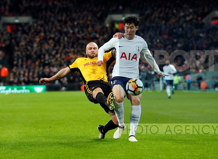Tottenham's Heung-Min Son tussles with Newport's David Pipe during the FA Cup, Fourth Round Replay  match at Wembley Stadium, London. Picture date 14th January 2018. Picture credit should read: David Klein/Sportimage