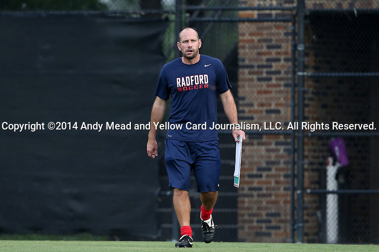 19 August 2014: Radford head coach Marc Reeves (ENG). The Duke University Blue Devils hosted the Radford University Highlanders at Koskinen Stadium in Durham, NC in a 2014 NCAA Division I Men's Soccer preseason match.