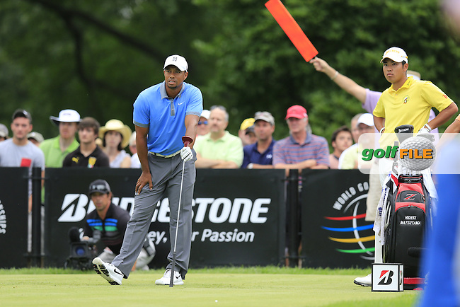 Tiger Woods (USA) tees off the 14th tee during Friday's Round 1 of the 2013 Bridgestone Invitational WGC tournament held at the Firestone Country Club, Akron, Ohio. 2nd August 2013.<br /> Picture: Eoin Clarke www.golffile.ie