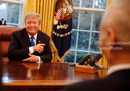 United States President Donald J. Trump meets with Liu He, Vice Premier of the People's Republic of China, in the Oval Office of the White House, in Washington, DC, February 22, 2019.<br /> Credit: Martin H. Simon / CNP