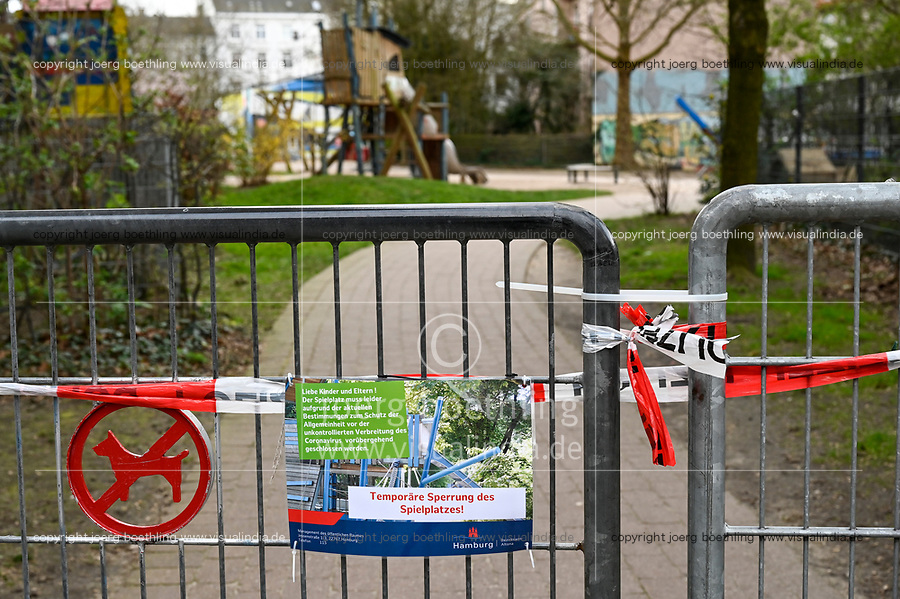 GERMANY, Hamburg, Corona Virus, COVID-19 , by authorities closed playground for children with information sign