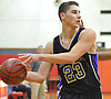 Joey Harclerode #23 of Sayville looks to pass during a Suffolk County varsity boys basketball game against host Amityville High School on Thursday, Jan. 5, 2017. Amityville won by a score of 81-73.