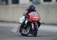 Oct. 6, 2012; Mohnton, PA, USA: NHRA pro stock motorcycle rider Craig Treble during qualifying for the Auto Plus Nationals at Maple Grove Raceway. Mandatory Credit: Mark J. Rebilas-