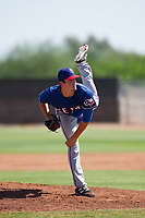 Texas Rangers pitcher Cole Ragans (54) follows through on his delivery during an Instructional League game against the San Diego Padres on September 20, 2017 at Peoria Sports Complex in Peoria, Arizona. (Zachary Lucy/Four Seam Images)
