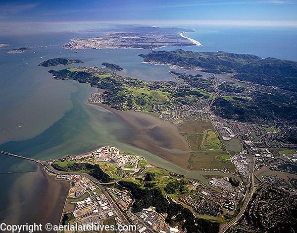 aerial photograph San Francisco bay from Marin toward San Francisco Marin County, California