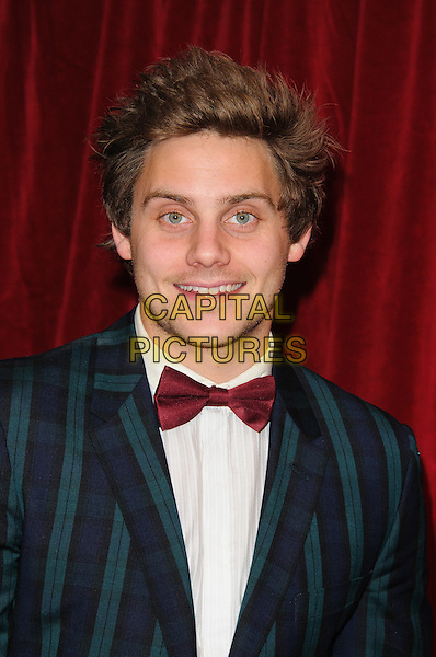 James Atherton.British Soap Awards 2012, The London Television Centre, London, England..28th April 2012.headshot portrait red bow tie white green striped stripes suit jacket white shirt.CAP/CJ.©Chris Joseph/Capital Pictures.