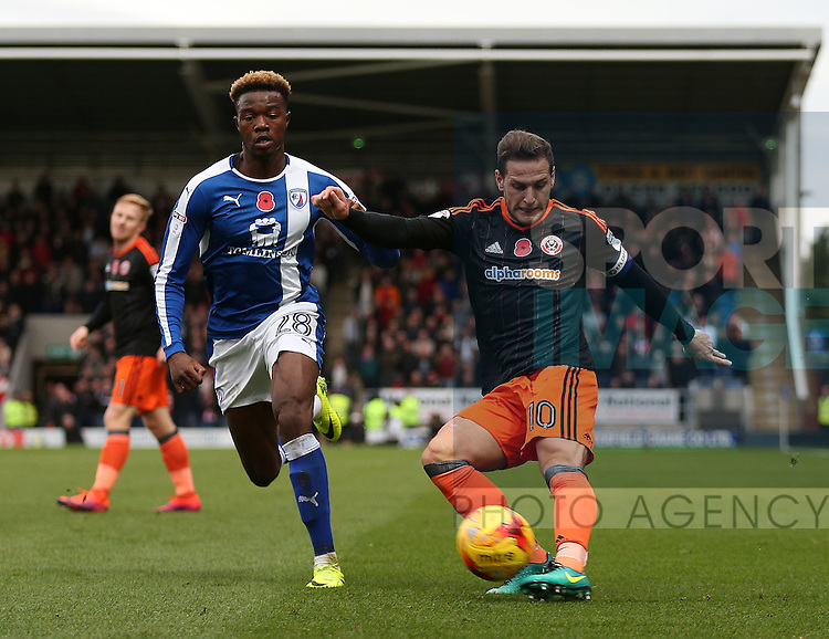 \su10 crosses the ball during the English League One match at the Proact Stadium, Chesterfield. Picture date: November 13th, 2016. Pic Simon Bellis/Sportimage