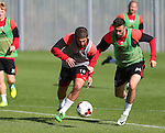 Kieron Freeman of Sheffield Utd and Danny Lafferty of Sheffield Utd during the Sheffield Utd training session at the Shirecliffe Training Complex , Sheffield. Picture date: September 29th, 2016. Pic Simon Bellis/Sportimage