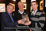 At the Comórtas Peile Páidí Ó Sé tournament in Paidi O'Se's Ventry on Sunday were from left, Paidi O'Se, Micheal O'Se, Radio na Gaeltachta,  receiving his award from Kerry footballer Marc O'Se. Picture: Eamonn Keogh (MacMonagle, Killarney)