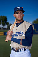 AZL Brewers Gold Daniel Castillo (13) poses for a photo before an Arizona League game against the AZL Brewers Blue on July 13, 2019 at American Family Fields of Phoenix in Phoenix, Arizona. The AZL Brewers Blue defeated the AZL Brewers Gold 6-0. (Zachary Lucy/Four Seam Images)