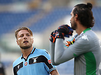 Football, Serie A: S.S. Lazio - Sassuolo, Olympic stadium, Rome, July 11, 2020. <br /> Lazio's Ciro Immobile (l) looks at Sassuolo's goalkeeper Andrea Consigli (r) during the Italian Serie A football match between S.S. Lazio and Sassuolo at Rome's Olympic stadium, Rome, on July 11, 2020. <br /> UPDATE IMAGES PRESS/Isabella Bonotto