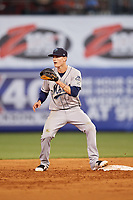 Mobile BayBears second baseman Hutton Moyer (11) during a game against the Mississippi Braves on May 7, 2018 at Trustmark Park in Pearl, Mississippi.  Mobile defeated Mississippi 5-0.  (Mike Janes/Four Seam Images)