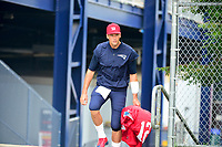 August 3, 2017: New England Patriots quarterback Tom Brady (12) makes his way to the practice fields  at the New England Patriots training camp held at Gillette Stadium, in Foxborough, Massachusetts. Eric Canha/CSM