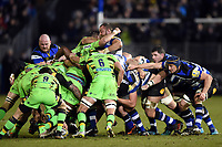 A general view of forwards in action at a scrum. Aviva Premiership match, between Bath Rugby and Northampton Saints on February 9, 2018 at the Recreation Ground in Bath, England. Photo by: Patrick Khachfe / Onside Images