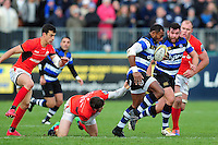 Semesa Rokoduguni of Bath Rugby takes on the Saracens defence. Aviva Premiership match, between Bath Rugby and Saracens on December 3, 2016 at the Recreation Ground in Bath, England. Photo by: Patrick Khachfe / Onside Images