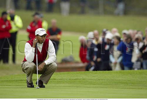 TIGER WOODS (USA) lines up his putt on the 8th green, Fourball Match, 34th Ryder Cup, The Belfry, Sutton Coldfield, 020928. Photo: Glyn Kirk/Action Plus....2002.putts putting.golf golfer player