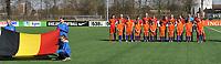 20180326 - ZALTBOMMEL , THE NETHERLANDS : Belgian team with Femke Bastiaen (1)   Romy Camps (3)   Zenia Mertens (4)   Stephanie Pirotte (5)   Karlijn Knapen (7)   Aster Janssens (8)   Lisa Petry (9)   Constance Brackman (14)   Tessa Wils (15)   Lea Cordier (19)   Hannah Eurlings (20)   pictured during the UEFA Women Under 17 Elite round game between Belgium WU17 and Romania WU17, on the second matchday in group 1 of the Uefa Women Under 17 elite round in The Netherlands , monday 26 th March 2018 . PHOTO SPORTPIX.BE    DIRK VUYLSTEKE