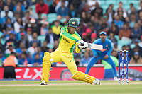 Alex Carey (Australia) shapes for a big hit but is deceived by Jasprit Bumrah (India) during India vs Australia, ICC World Cup Cricket at The Oval on 9th June 2019
