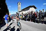 Mikael Cherel (FRA) AG2R La Mondiale and Matthias Le Turnier (FRA) Cofidis at the summit of Madonna del Ghisallo during the 111th edition of Il Lombardia 2017 &quot; The Race of the Falling Leaves&quot; the final monument of the season, running 247km from Bergamo to Como, Italy. 7th October 2017.<br /> Picture: LaPresse/Fabio Ferrari | Cyclefile<br /> <br /> <br /> All photos usage must carry mandatory copyright credit (&copy; Cyclefile | LaPresse/Fabio Ferrari)