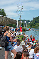 Lucerne, SWITZERLAND, 12th July 2018, Friday  FISA World Cup series, No.3, Lake Rotsee, Lucerne,  Spectators, in the public area, near the Finish, Photographer Karon PHILLIPS