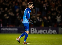 Lincoln City's goalkeeper Josh Vickers smiles after his side take the lead<br /> <br /> Photographer Andrew Kearns/CameraSport<br /> <br /> The EFL Sky Bet League One - Lincoln City v Bolton Wanderers - Tuesday 14th January 2020  - LNER Stadium - Lincoln<br /> <br /> World Copyright © 2020 CameraSport. All rights reserved. 43 Linden Ave. Countesthorpe. Leicester. England. LE8 5PG - Tel: +44 (0) 116 277 4147 - admin@camerasport.com - www.camerasport.com