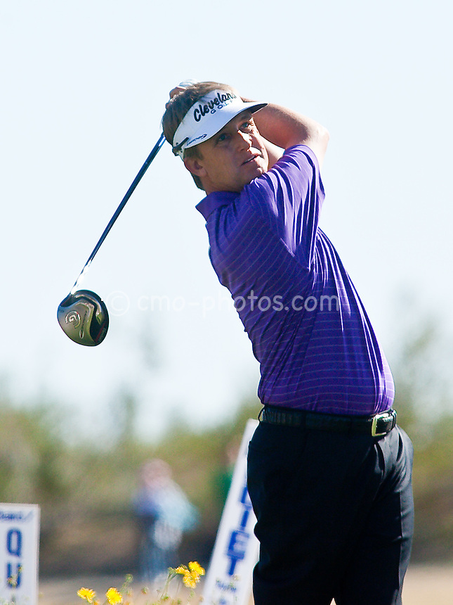 Feb 1, 2009; Scottsdale, AZ, USA; David Toms (USA) hits his tee shot on the 13th hole during the final round of the FBR Open at the TPC Scottsdale.  Mandatory Credit: Chris Morrison-US PRESSWIRE