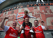 9th September 2017, Emirates Stadium, London, England; EPL Premier League Football, Arsenal versus Bournemouth; Group of Arsenal fans posing outside Emirates Stadium before kick off