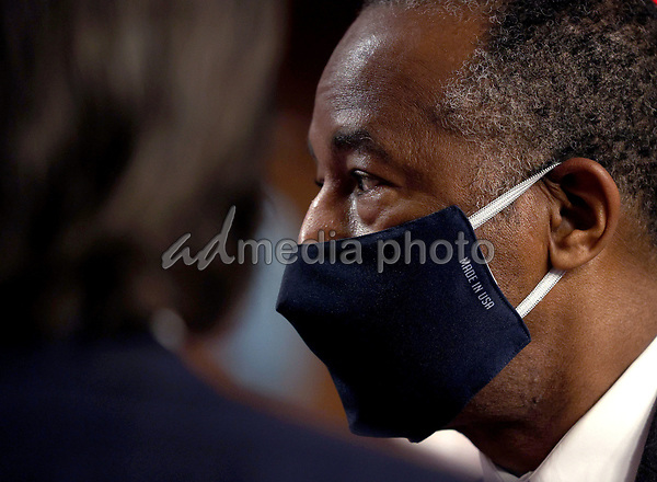 United States Secretary of Housing and Urban Development (HUD) Ben Carson arrives for testimony before the Senate Banking, Housing and Urban Affairs Committee June 9, 2020 in Washington, DC. Carson and Mark Calabria, Director of the Federal Housing Finance Agency, testified before the committee on the topic of federal housing regulations. <br /> Credit: Win McNamee / Pool via CNP/AdMedia