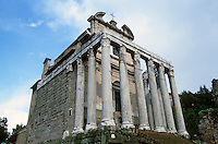 Italy: Rome--Temple of Antoninus and Faustina, 2nd C. A.D. Baroque facade.