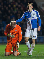 Tom Lockyer of Bristol Rovers with Goalkeeper Steve Mildenhall of Bristol Rovers during the Sky Bet League 2 match between Oxford United and Bristol Rovers at the Kassam Stadium, Oxford, England on 17 January 2016. Photo by Andy Rowland / PRiME Media Images.