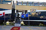 The Rocky Mountaineer passenger train at the train station in Jasper, Alberta, Canada
