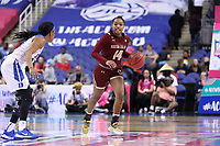 GREENSBORO, NC - MARCH 06: Marnelle Garraud #14 of Boston College brings the ball up the court during a game between Boston College and Duke at Greensboro Coliseum on March 06, 2020 in Greensboro, North Carolina.