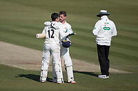 Dane Vilas congratulates Rob Jones of Lancashire CCC on reaching his century during Middlesex CCC vs Lancashire CCC, Specsavers County Championship Division 2 Cricket at Lord's Cricket Ground on 13th April 2019