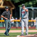 4 September 2017: Tri-City ValleyCats Manager Morgan Ensberg discusses a call with umpire  Marcelo Alfonzo during the first game of a double-header against the Vermont Lake Monsters at Centennial Field in Burlington, Vermont. The ValleyCats split their games, winning 6-5 in the first, then dropping the second 7-4 to the Lake Monsters in NY Penn League action. Mandatory Credit: Ed Wolfstein Photo *** RAW (NEF) Image File Available ***
