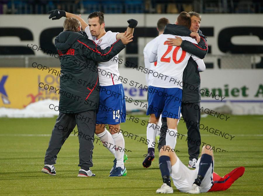 Fudbal Soccer U21<br /> Play off Second leg<br /> Norveska U21 v Srbija U21<br /> Vukasin Jovanovic (L) and Sergej Milinkovic-Savic (R) celebrate<br /> Dramen, 15.11.2016.<br /> foto: Srdjan Stevanovic/Starsportphoto &copy;