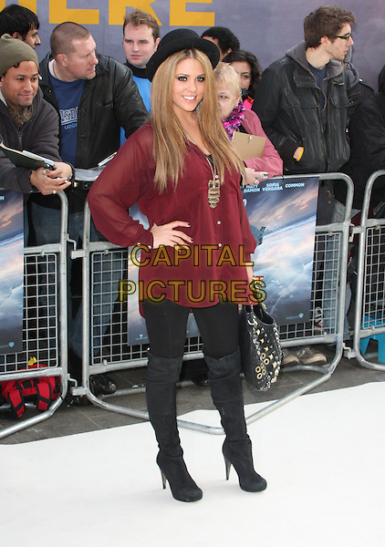 Bianca Gascoigne.European Premiere of 'Happy Feet Two' at the Empire Leicester Square, London, England..November 20th 2011.full length black leggings thigh high boots maroon red shirt hand on hip hat owl bird necklace .CAP/ROS.©Steve Ross/Capital Pictures