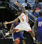 Winston-Salem Prep's Kerry Campbell (3) defends a pass against Plymouth during the Phoenix' 61-49 win in the State Championship at the Dean Smith Center in Chapel Hill, NC, on Saturday, March 10, 2012.  Photo by Ted Richardson