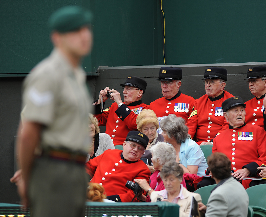 Chelsea Pensioners on Centre Court..Tennis - Wimbledon Lawn Tennis Championships - Day 3 Wed 22 Jun 2011 -  All England Lawn Tennis and Croquet Club - Wimbledon - London - England...